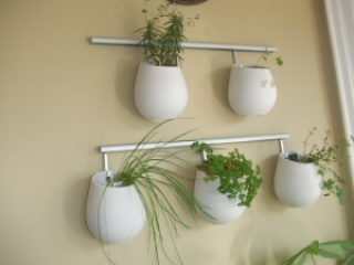 Hanging Wall Herb Garden Using Ikea Pots