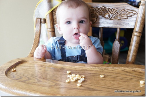 Baby Surprised While Eating Cheerios