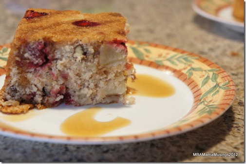 Slice of Cranberry Pear Pecan Cake